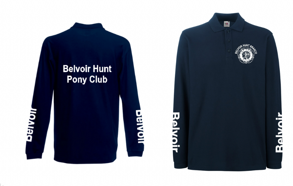 Adults Belvoir Long Sleeve Navy Polo